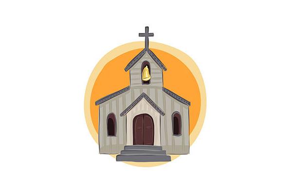 Esineet ja kirkko erillisinä kuvina