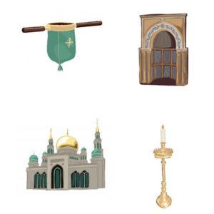 BINGO uskonnollisista rakennuksista ja esineistä